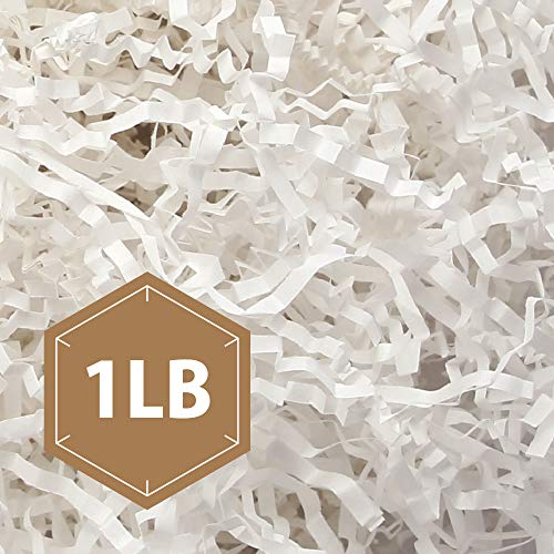 PACKHOME 1 LB Crinkle Cut Paper Shred Filler, White Shredded Paper for Gift Baskets, Crinkle Paper for Gift Wrapping