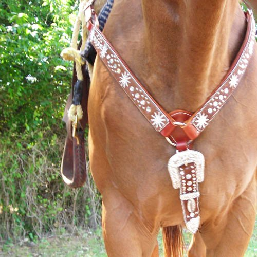 Geniune Leather Rhinestone Horse Breast Collar & Head Stall Set