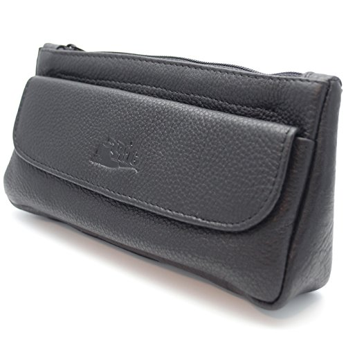 Pipe Tobacco Leather Pouch Combo - Authentic Full Grade Leather - Black