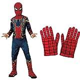 Rubies Disfraz Avengers Official Iron Spider, Spiderman Classic, Talla S, 3-4 anos, altura 117 cm (700659_S) + Spiderman - Guantes para disfraz de niño, talla Única ( 35631)