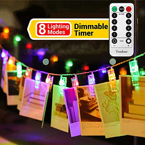 20 LED Photo Clips String lights with Remote Control, 8 Lighting Modes Photo Hanging Fairy String Lights for Christmas, Bedroom, Memorial Day, Wedding, Birthday, Party, Easter Decorations (Multicolor)