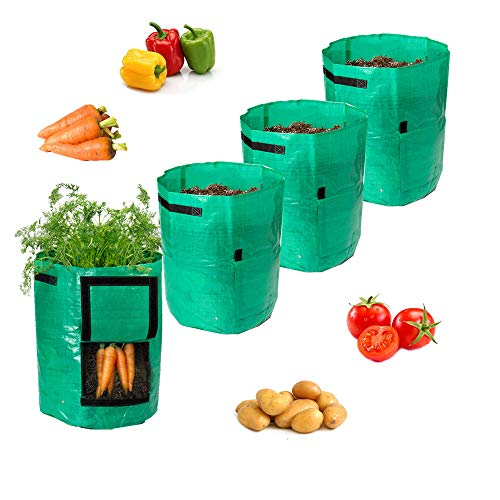Todoing Garden Potato Grow Bag 4Pack10Gallon Grow Bags with Access Flap and Handles for Harvesting Potato Carrot Onion tomataVegetable and Flower