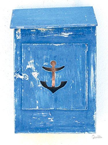 Glücksvilla Serie weiß & blau: Briefkasten des Kapitäns - Exklusives Künstlermotiv, XXL Bild/Wandbild, Größe: 90 x 120 cm Hoch-Format, Digital-Druck auf Acrylglas 5 mm