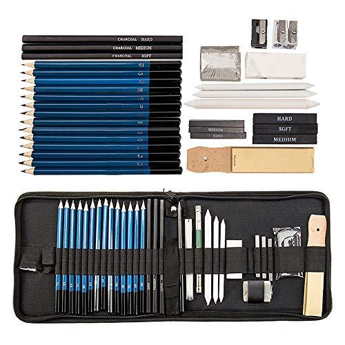 seebesteu Crayons Dessin Professionnel Set de Crayons Fusain Materiel Gommes à Effacer et Aiguisoirs Sac Inclus Gomme Crayon de Charbon Graphite Outils pour Dessiner 36 PCS