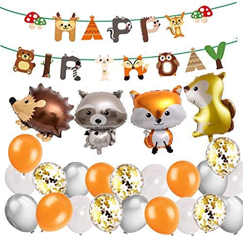 Decoraciones De Cumpleaños De Niño Korins Globos de animales del bosque salvaje de la selva para la fiesta de cumpleaños del niño Globo de látex para decoración de ducha de bebé niño