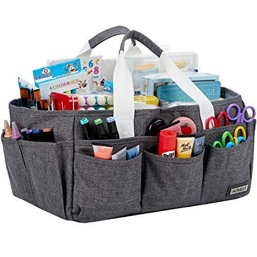 HOMEST Craft Organizer Tote Bag with Multiple Pockets, Storage Art Caddy for Scrapbooking, Crafts Supply Carrier for Tools, Grey