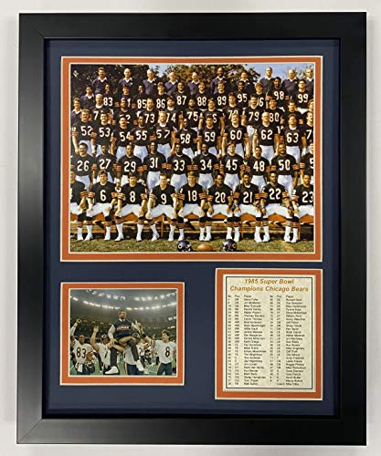 Legends Never Die Chicago Bears 1985 Super Bowl Champions Collectible | Framed Photo Collage Wall Art Decor - 12