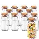 BELLE VOUS Bote Cristal Tapon Corcho (12 Piezas) - 100ml Mini Botellas de Cristal - Mini tarros Multipropósito Bote Pequeño Cristal para Frutas Secas, Dulces, Decoraciones, Sal, Pimienta, Cocina