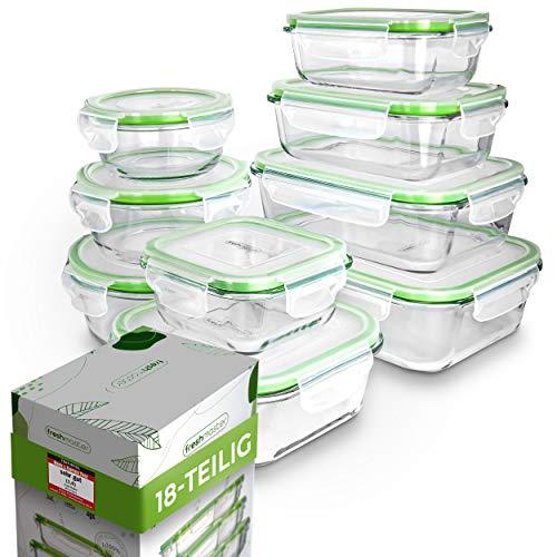 Fresh Master Frischhaltedose Glas Set - Testurteil: SEHR GUT - 100% auslaufsichere + luftdichte Vorratsdosen mit Deckel I Vorratsdosen Glas Meal Prep Boxen Glas Aufbewahrungsbox (18 teilig)