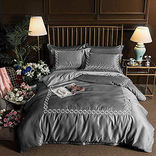 Bedding Set King Size Silk, White Double Duvet Covers Set, Bedding Set King Size Purple Grey Double Duvet Covers Set Silk Cotton Double Bed Twin Silk Satin Embroidery
