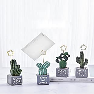 4-Set of Card Photo Holder, ZOMYEE Mini Cactus Reserved Number Clip Name Note Memo Stand Office Supply Home Decoration Desk Small Clamps Stand Accessories. ...