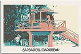 GYJDD Laminas para Cuadros Póster de Viaje Vintage del Caribe de Barbados póster de Pintura Decorativa póster Moderno de Arte en Lienzo para Oficina póster decorativo40x60cm x1 Sin Marco