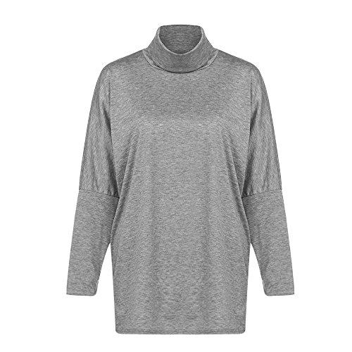 TOPUNDER Women Long Sleeve Blouse Turtleneck Neck Loose Casual Tops Gray