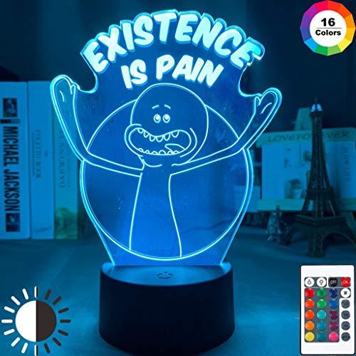 Cute Cartoon Mr Meeseeks and Destroy Existence Is Pain Office Night Light 3D LED Lámpara de mesa niños regalo de cumpleaños decoración de la habitación junto a la cama