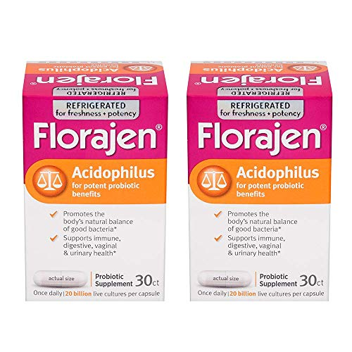 Florajen Acidophilus High Potency Probiotics | for Potent Probiotic Benefits and Supports Immune and Digestive Health | 20 Billion Cfus| 30 Count 2 Pack