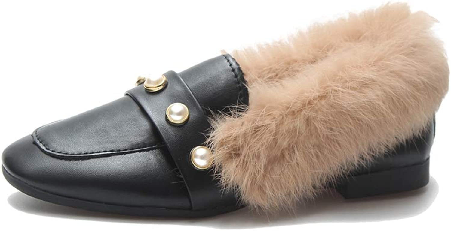 York Zhu Slippers for Women,Leather Comfort Faux Fur Lined Non Skid House shoes