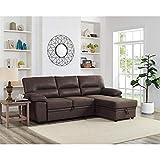 Lilola Home Kipling Microfiber Reversible Sleeper Sectional Sofa Saddle Brown