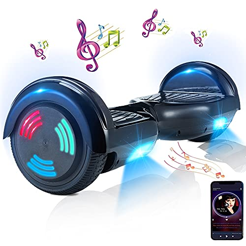 Hoverboard, Hoverboard Premium de 6.5 '- Altavoz Bluetooth - Potente Motor Dual - LED - Patineta eléctrica Self Balance Scooter (Negro)