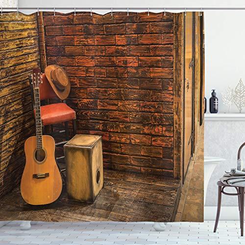 ABAKUHAUS Musik Duschvorhang, Holzbühne Pub Cafe, mit 12 Ringe Set Wasserdicht Stielvoll Modern Farbfest & Schimmel Resistent, 175x240 cm, Dunkelorange Sandbraun Bernstein