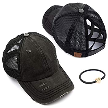 C.C Exclusives Washed Distressed Cotton Denim Criss-Cross Ponytail Hat Adjustable Baseball Cap Bundle Hair Tie  BT-780   A Elastic Band-Black
