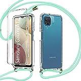 Pnakqil Funda con Cuerda para Samsung Galaxy A12 + 1 x Película de Lentes Estuche para teléfono de Silicona TPU Suave de 360 Grados con cordón Ajustable para Correa para el Cuello - Verde