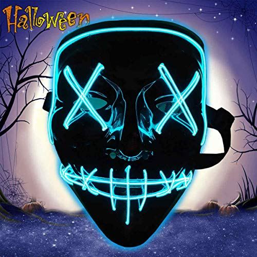 Halloween Purge Led Mask, Halloween Scary Cosplay Mask, Light Up Mask for Festival Party Adults Costume Men Women Blue