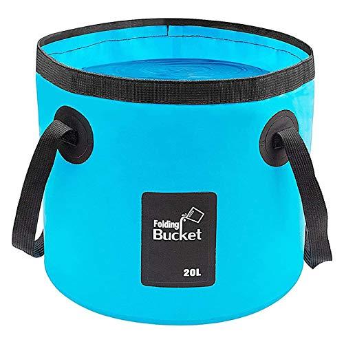 LIBERRWAY Zusammenklappbarer Eimer für Camping, tragbarer Wasserbehälter, 20 l, faltbarer Eimer, Waschbecken für Reisen, Wandern, Angeln, Bootfahren, Gartenarbeit, Blau