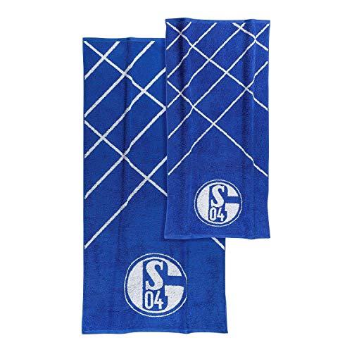 FC Schalke 04 Frottier-Set 2-teilig Handtuch, Duschtuch, Towel S04 - Plus Lesezeichen I Love Gelsenkirchen