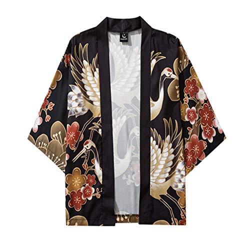 Herren Sommer Kimono, Mode T-Shirt Druck Lose Cardigan Kurzarm Japan Kimono Sommer Jacke ÜBergangsjacke MäNtel Strickjacke Yukata Mantel Baggy Tops
