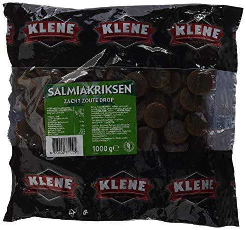 Klene Salmiakriksen, zoute drop met salmiak smaak - 6 zakken, inhoud van 1 kg, zachte drop in muntvorm