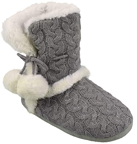 Chinese Laundry Womens Bootie Slipper, with Pom Poms, Plush & Knit Slipper Bootie with Memory Foam, Grey, Size Small 5/6