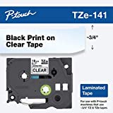 Brother Genuine P-Touch TZE-141 Tape, 3/4' (0.7') Standard Laminated P-Touch Tape, Black on Clear, Laminated for Indoor or Outdoor Use, Water-Resistant, 26.2 ft (8 m), Single-Pack