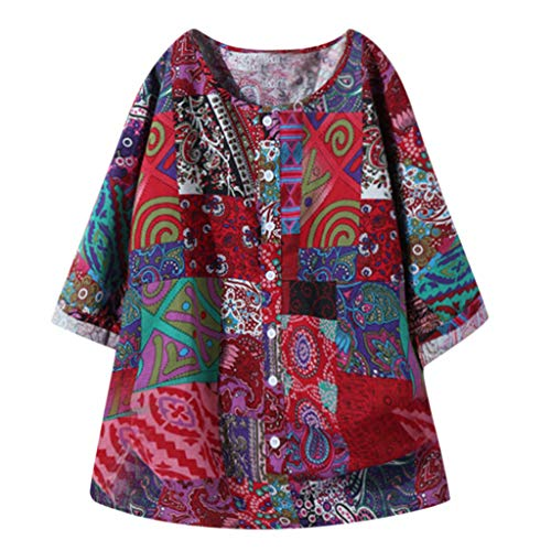 Why Choose Gifts for Women,Plus Size Women VintWHe V Neck Splicing Floral Printed Long Sleeve Maxi D...