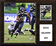"""Licensed 8""""X10"""" Doug Baldwin Photo Officially Licensed Trading Card 12""""x15"""" cherry wood plaque Full lens covers to protect cards, pictures Perfect for displaying in an office, rec room or bedroom"""