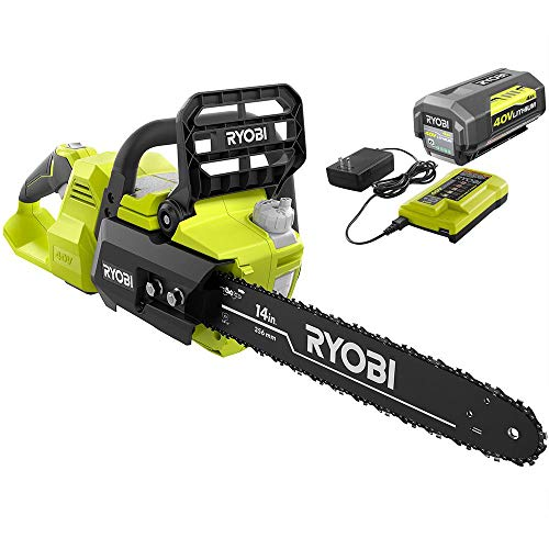"Ryobi 40V Brushless 14"" Chainsaw w/Battery and Charger Included"