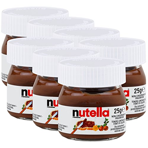 Ferrero Nutella World - 7 recipientes de crema de chocolate y avellanas, 25 g
