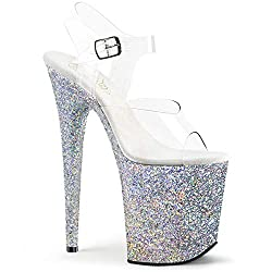 c283b668cc54 Pleaser Flamingo Sandals – Silver with Glitter. The glitter on these pole  shoes ...