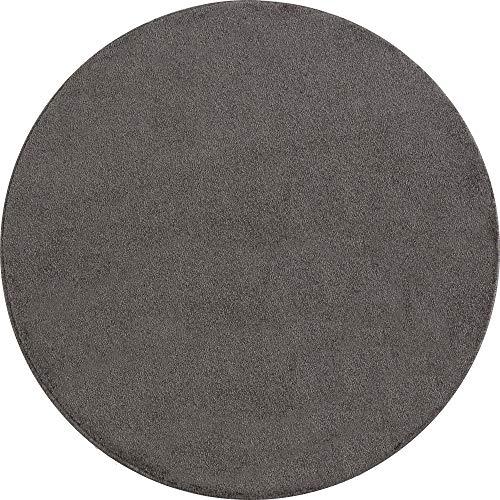 Ayyildiz Wunderschöne ATA Teppich, Moderner Einfarbig Teppich, Rund, Höhe 12 mm, Größe:Ø 200 cm Rund, Farbe:Mokka