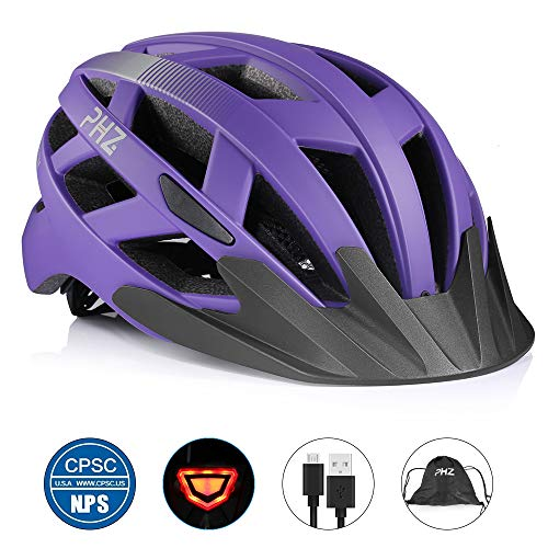 PHZ. Adult Bike Helmet CPSC Certified with Rechargeable USB Light, Bicycle Helmet for Men Women with Detachable Visor (Purple, Large)