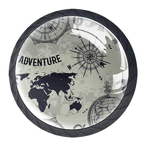 Schubladenknöpfe Runde Schrankgriffe ziehen für Home Office Küche Kommode Kleiderschrank Dekorieren,Nahtloses Muster Vintage Globe Compass World