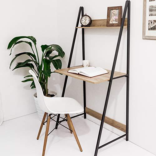 C-Hopetree Ladder Desk with Shelf - Student Study Table - Black Metal Frame.