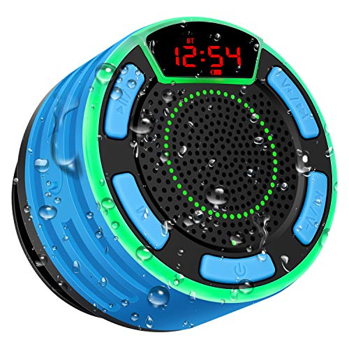 Bluetooth Lautsprecher, moosen IPX7 wasserdicht Tragbares kabelloser Bluetooth Shower Speaker mit FM Radio, LED Display, TWS und Light Show, HD Sound and Deep Bass Speaker for Bathroom Pool Outdoor