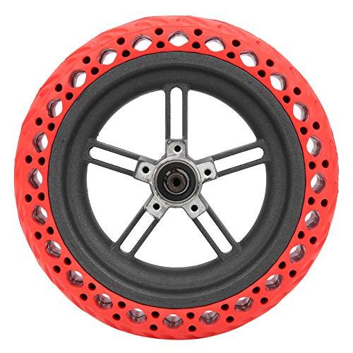 DAUERHAFT Scooter de Goma Flexible Ruedas traseras Neumático de Goma antiexplosión Fuerte absorción de Impactos, para Bicicletas eléctricas, Coches y Scooters(Red)