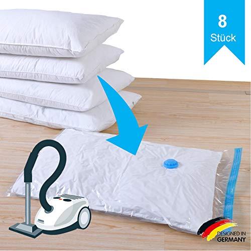 SilverRack Kleider Vakuumbeutel für Staubsauger in 3 Größen (8 Stück) - Aufbewahrungsbeutel für Kleidung zum Verstauen - XXL Aufbewahrung Vakuumsäcke perfekt für Bettdecken u. Bettwäsche