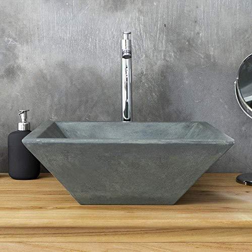Magnus Home Products Uriah Square Cast Concrete Vessel Bathroom Sink, Copper Green, 15 3/4' L x 15 3/4' W, 35.0 lb
