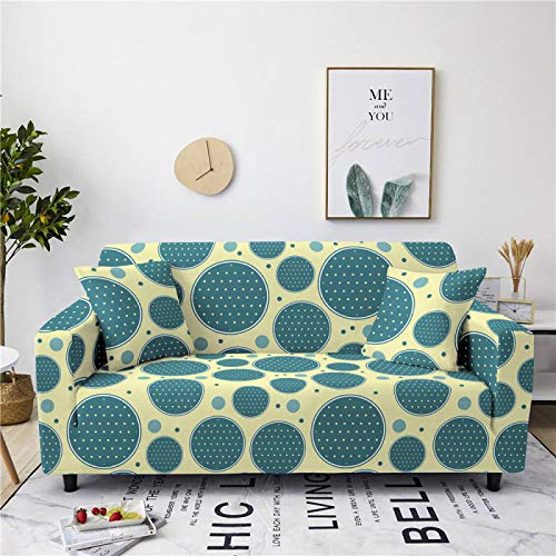Universal Sofa Cover Spandex Stretch Couch Slipcover Blue Circle Pattern Tight Fitted Armchair Loveseat Settee Cover 1/2/3/4 Seater Sofa Protector,4,seater 235,300cm