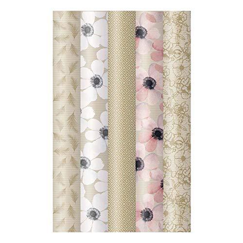 ARTEBENE Geschenkpapier Geschenkpapierbogen Geschenkpapierrolle Rolle 5er Set Blumen Muster Federn