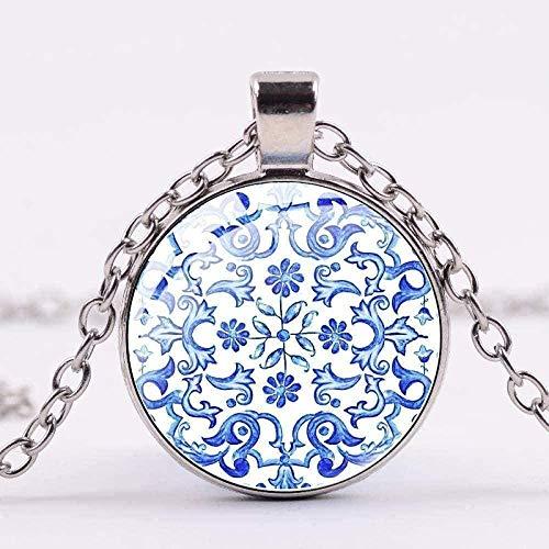 Yiffshunl Collar Mujer Collar Simple Azul Blanco Porcelana Arte Patrón Colgante Collar Color Plata Collar de Cadena de Eslabones para Mujeres Regalo Joyería Vintage