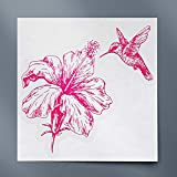 USCLIFESTYLE Flying Humming Bird Near Hibiscus Sketch (Pink) (Set of 2) Premium Waterproof Vinyl Decal Stickers for Laptop Phone Accessory Helmet Car Window Bumper Mug Tuber Cup Door Wall Decoration