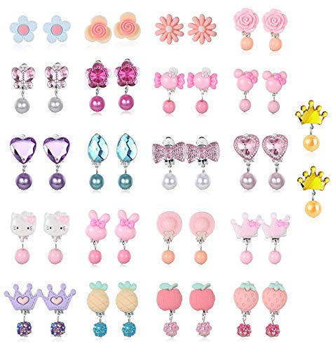 Finrezio 21 paar clip op oorbellen spelen oorbellen prinses nep oorbellen voor partij gunst alle verpakt in 3 heldere dozen